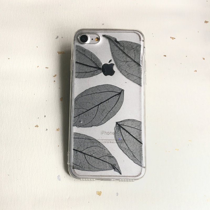 Leaf color gray ash personality type vein pulse embossed mobile phone case