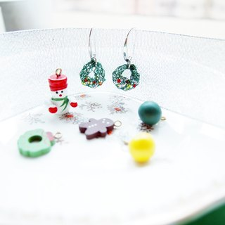Fresh emerald green donut twist Beads earrings ear clip E062