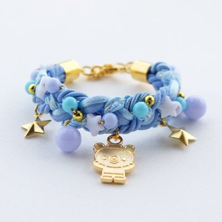 Golden teddy bear blue braided bracelet