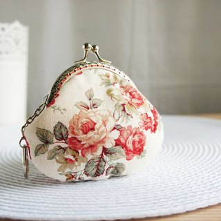 Lovely classical rose gold coin purse, rice pink flower