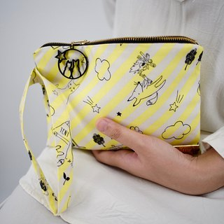 Wristlet in Black Cats on Yellow Stripes