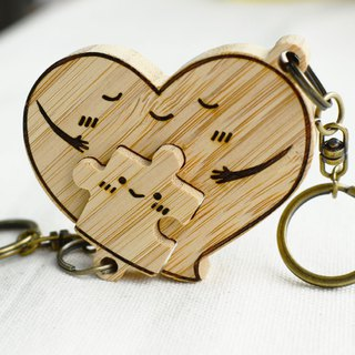 [Mother's Valentine's Day gift] love hug magnet key ring puzzle girlfriends custom made pendant