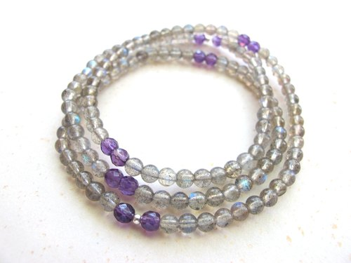 [芜]Amethyst x Labradorite x 925 Silver - Three-ring Bracelet/Necklace Dual - Hand-made natural stone series