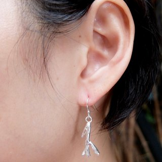 Tropical style sterling silver hanging earrings