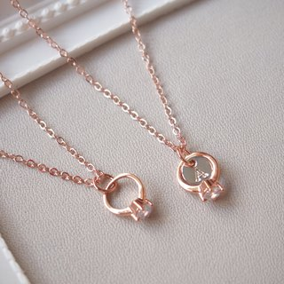 I am willing to, mini ring, customized, English alphabet, rose gold-plated copper necklace (40cm)