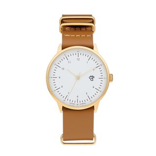 Chpo Brand Swedish Brand - Harold Gold White Dial Honey Brown Leather Watch