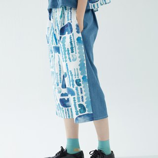 Y1,hsuan X Honglin exclusive printed cloth series low-lying double-sided wearable denim stitching pants rain