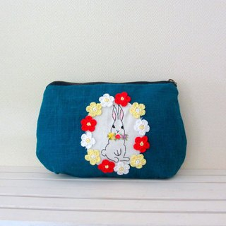 Flowers and rabbit linen pouch Turquoise Blue