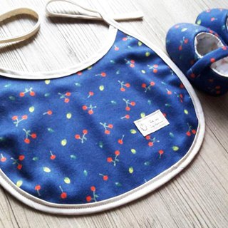 Dark blue cherry moon gift box two-piece group (wool cloth baby shoes + bib)