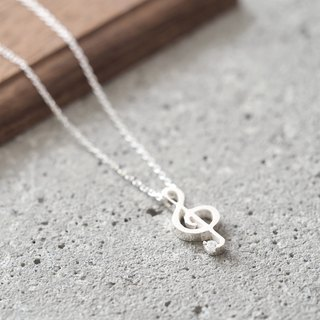 Treble clef Music Note Necklace Silver925