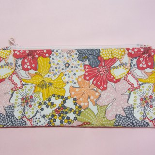 Pencil case / organisation pouch with pink floral print