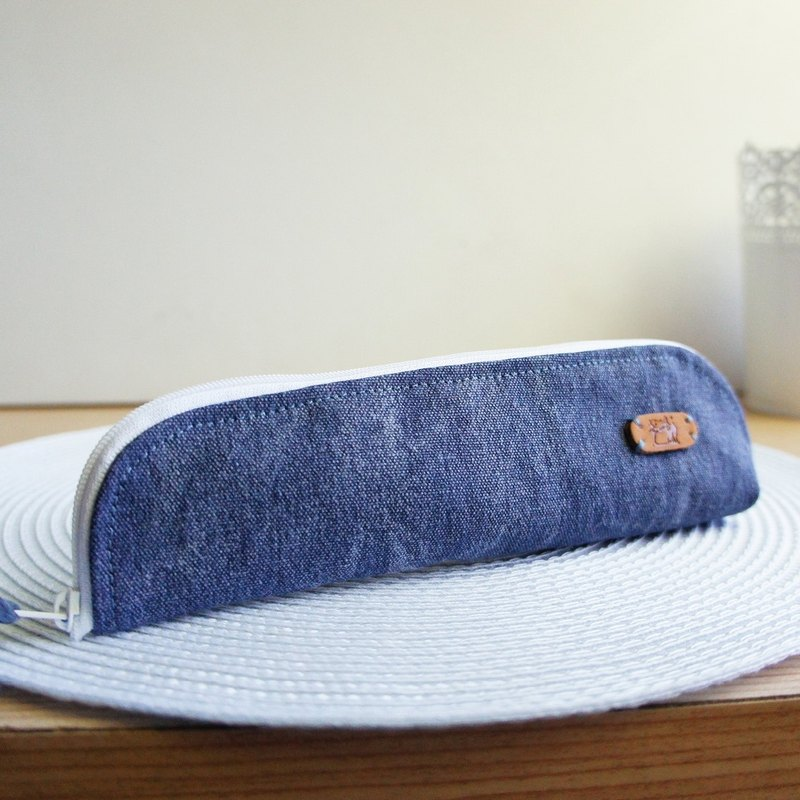 Lovely stone wash denim denim simple cutlery bag, pencil case, stone wash canvas blue (do not order in the revision