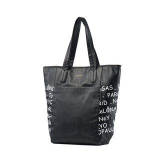 Mesheen Mishin deep black text printing simple shoulder bag