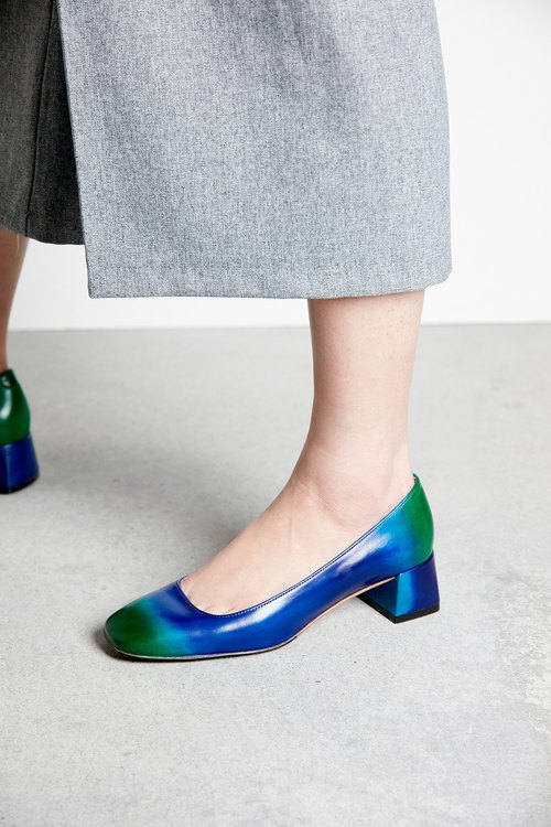 H THREE classic square heel shoes / blue green / gradient / Loch Ness / thick with / retro