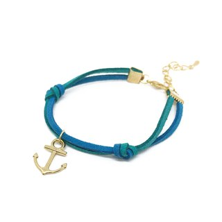 Handmade Simple Stylish Anchor Bracelets Rose Gold Series–azure limited