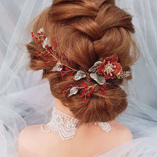 Chinese handmade flower hand made bridal tiara three-piece