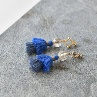 イヤリング/Double tassel earrings /Hydrangea blue