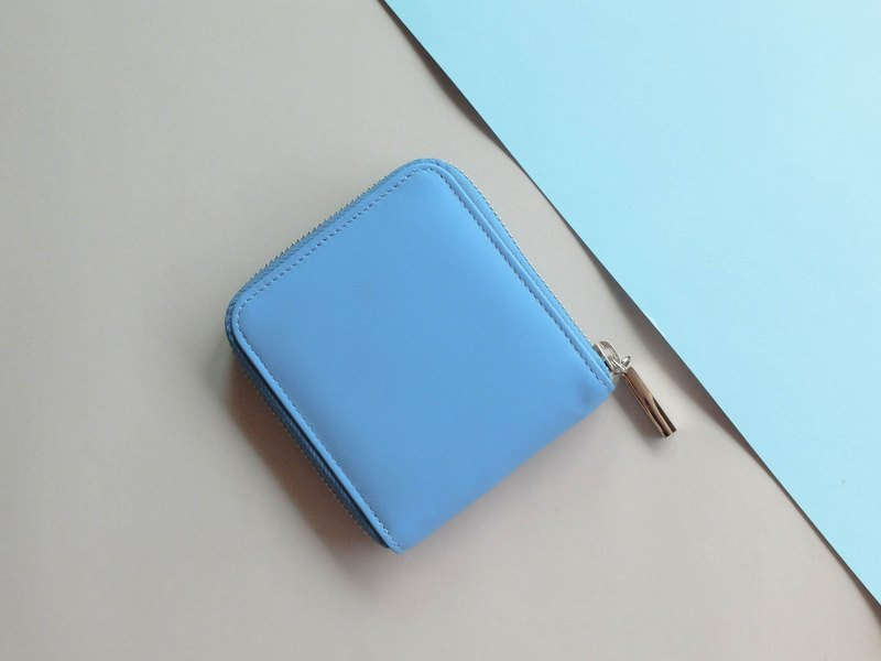 'MONDAY' ITALY LEATHER SHORT WALLET-BLUE