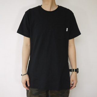 Long Pocket Tee with zip details /plain/simple/couple/cotton