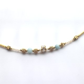 Good day- Aquamarine  zircon pearl brass handmade bracelet