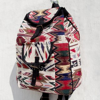 After the hand-knitted fabric stitching design backpack / shoulder bag / backpack after ethnic / Boho national totem package - Moroccan carpet wind hit the color geometric ethnic Backpack