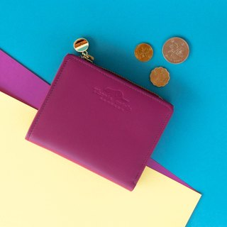PEONY - SMALL LEATHER SHORT WALLET WITH COIN PURSE-PURPLE