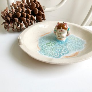 Swimming kitty- Handmake Ceramic and glass Jewellery plate