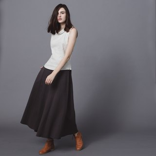 Handmade cotton and linen wide trousers skirt - dark grey