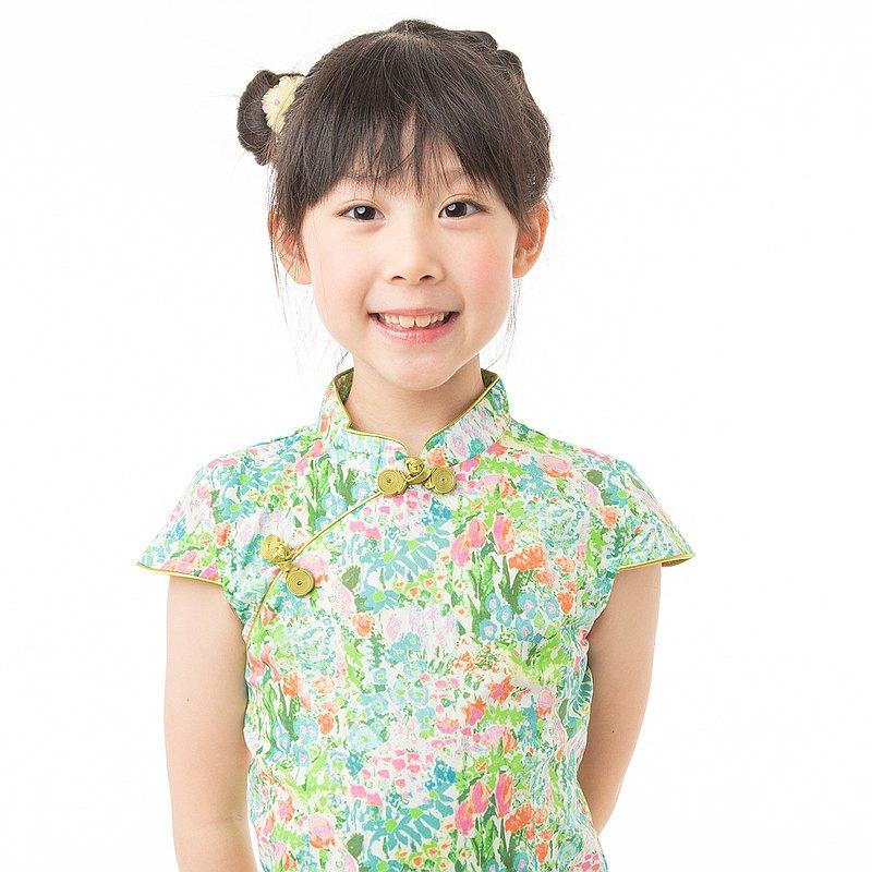 兒童旗袍 古風 四季款 椿蘊蔥蔥
