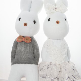 Handmade healing system - a couple of gray male rabbit [*1 female flour*1] custom embroidered words design models