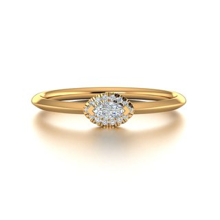 【PurpleMay Jewellery】18k Yellow Gold Evil Eye Diamond Thin Ring Band R018