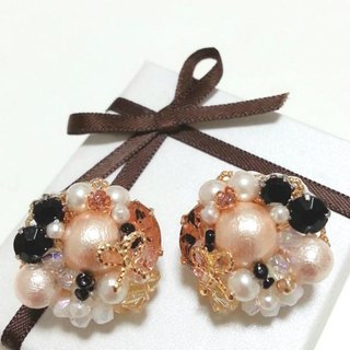 Bouquet earrings ribbon Pearl × Bijoux (earrings) black