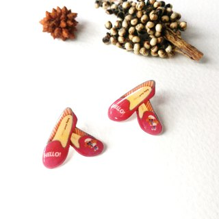 Original Illustration Series - HELLO cute red shoes / pin earrings