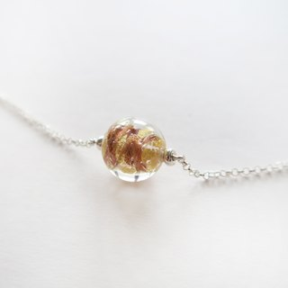925 Silver -Gold glass necklace