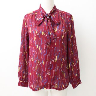 [RE0407T1888] Nippon retro vintage red geometric print shirt