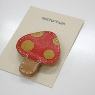 Mushroom brooch red × yellow