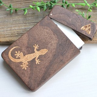 Wooden business card holder 【Gecko and moth】 Business Card Case