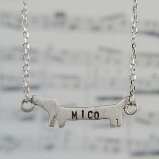 Hairy Kids - Fat Doodle Lettering Intestines - Dachshund Dog Silhouette Necklace Customized Clavicle Chain Pets