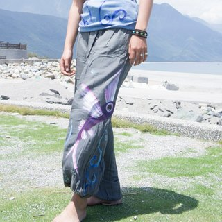 Hand Painted wings flying fish dyed cotton bloomers (neutral models / trousers / pants)