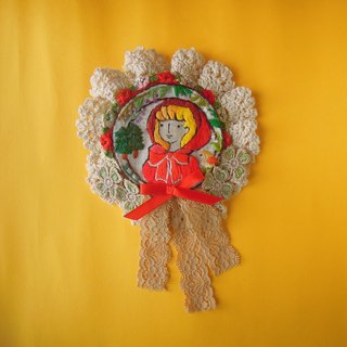 Giant little red riding hood brooch
