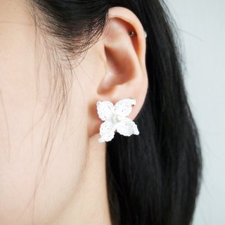 Custom made Japanese style crochet butterfly shape white lace yarn earrings