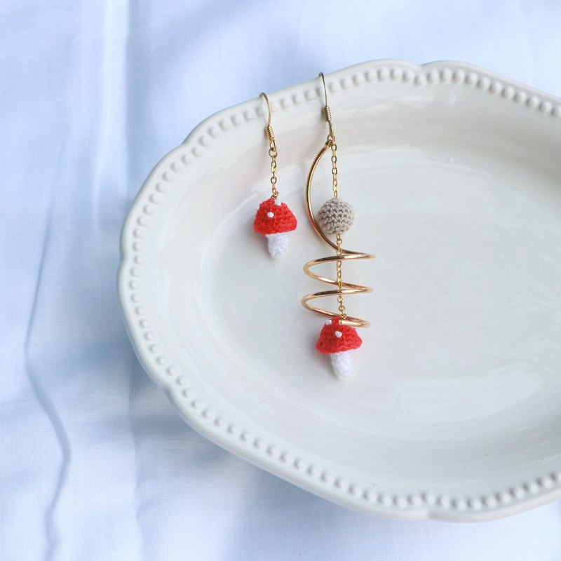 Crocheted asymmetrical red mushroom metal twisted accessories earrings