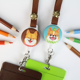 i wear retractable identification ticket card holder - Hand-painted wind series - Shiba Inu