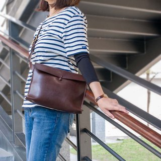 Taste exclusive Japanese staff hand made tanned leather Messenger bag Messenger Brown Made in Japan by TEHA AMANA