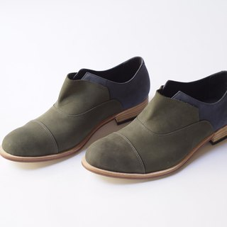 ZOODY / exploration / handmade shoes / Men / lace straps gentleman shoes / green + blue