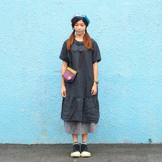 Xiaoniu Village cotton and linen forest dress long dress limited edition [sailor doll collar - dark gray] J-38