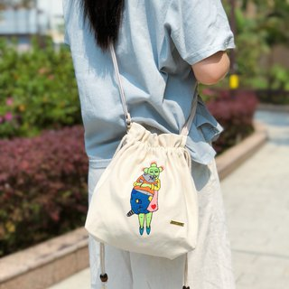 Belongs To J. Embroidered Cotton Canvas Drawstring Tote bag - Helpless Fat Cat