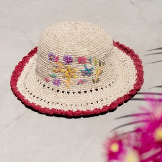 Valentine's Day gift limited a hand-woven cotton / hat / hat / fisherman hat / sun hat / straw hat / straw hat - Boho rainbow embroidery flowers forest wind (red)
