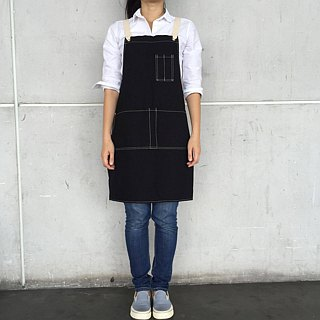 New Black Washed Canvas Apron no.06 Silver rivets 2 pockets /garden/barista