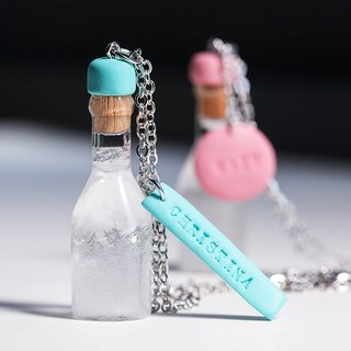 Customized Engraving Tag Weather Bottle / Storm Bottle Necklace - Storm Glass Pendant